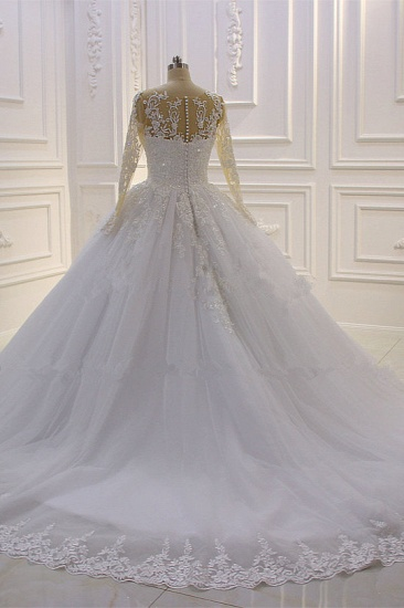 Ball Gown Tulle Appliqus Wedding Dress Long Sleeves Jewel Beading Ruffles Bridal Gowns On Sale_3