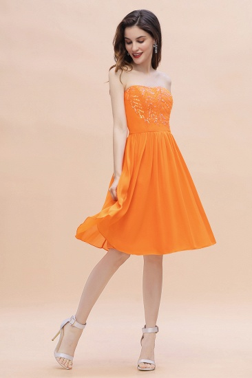 BMbridal Pretty Strapless Sweetheart Chiffon Sequins Short Bridesmaid Dress with Ruffles_4