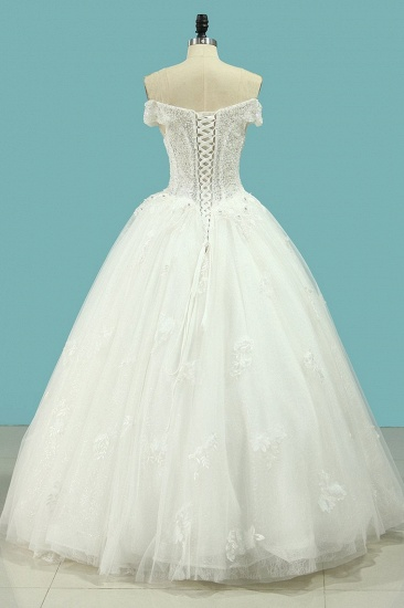 BMbridal Chic Strapless Sweetheart Tulle Wedding Dress Sleeveless Lace Appliques Bridal Gowns On Sale_3