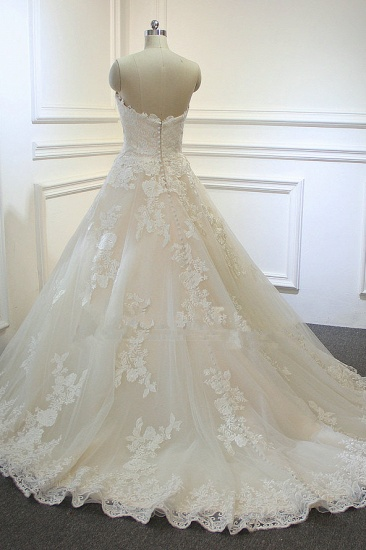 BMbridal Chic Strapless Tulle Lace Wedding Dress A-Line Sweetheart Appliques Sleeveless Bridal Gowns On Sale_3