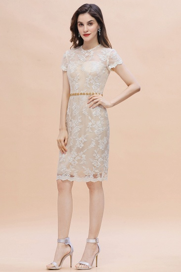 BMbridal Chic Jewel Tulle Lace Beadings Mother of Bride Dress with Short Sleeves Online_8