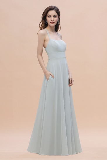 Simple Straps A-line Chiffon Mist Bridesmaid Dress with Ruffles Online_7