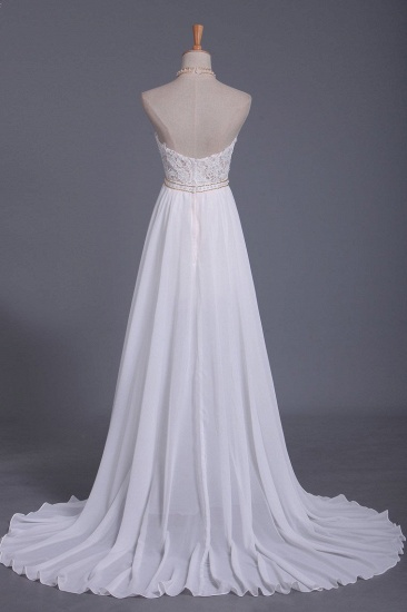 Boho Halter Chiffon Lace Wedding Dress Beadings Appliques Sleeveless Ruffles Bridal Gowns On Sale_3