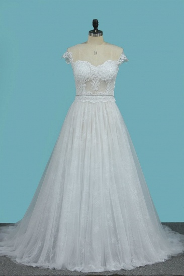 Chic Jewel Sleeveless Tulle Wedding Dress Lace Appliques Ruffles Bridal Gowns On Sale