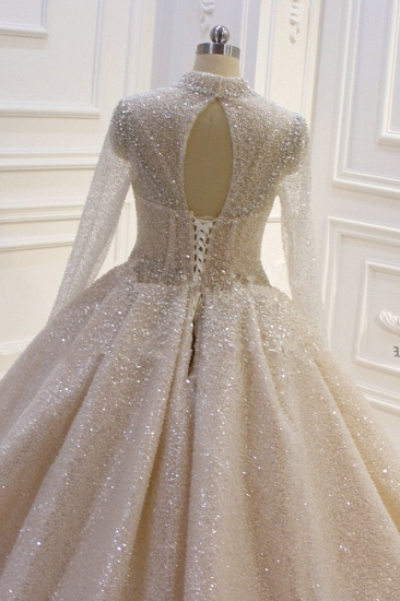 BMbridal Glamorous Ball Gown High Neck Wedding Dress Long Sleeves Sparkly Sequined Beading Bridal Gowns On Sale_4