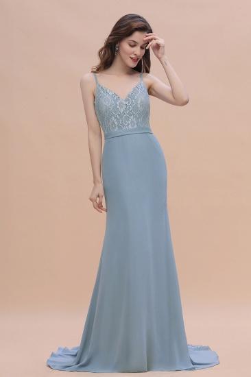 BMbridal Elegant Mermaid Chiffon Lace Dusty Blue Bridesmaid Dress with Spaghetti Straps On Sale_6