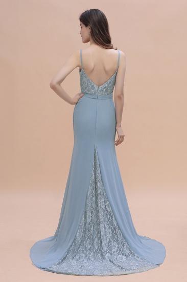 BMbridal Elegant Mermaid Chiffon Lace Dusty Blue Bridesmaid Dress with Spaghetti Straps On Sale_3