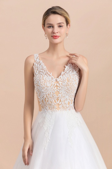 BMbridal Boho V-Neck Lace Wedding Dress Tulle Appliques Sleeveless Bridal Gowns On Sale_10