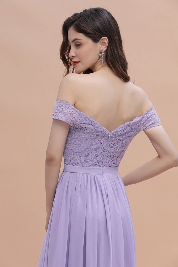 BMbridal Sexy Off-the-Shoulder Lace Chiffon Ruffles Bridesmaid Dress with Slit On Sale_11