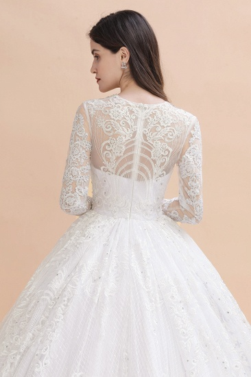 BMbridal Glamorous Jewel Tulle Lace Wedding Dress Long Sleeves Appliques Beadings Bridal Gowns Online_9