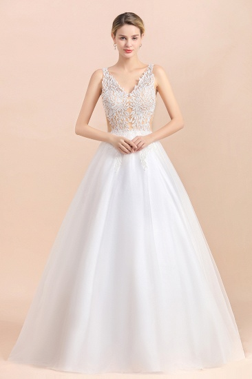 BMbridal Boho V-Neck Lace Wedding Dress Tulle Appliques Sleeveless Bridal Gowns On Sale_4
