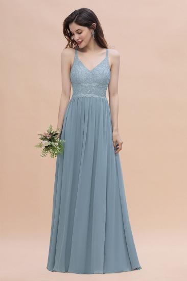 Stylish Straps V-Neck Chiffon Lace Dusty Blue Bridesmaid Dress On Sale_6