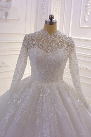 BMbridal Luxury Ball Gown High Neck Tull Lace Wedding Dress Long Sleeves Appliques Sequins Bridal Gowns Online_5