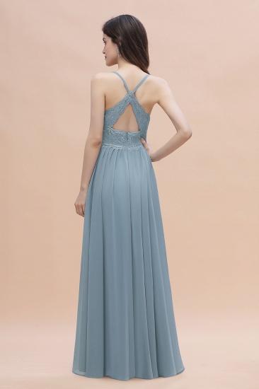 Stylish Straps V-Neck Chiffon Lace Dusty Blue Bridesmaid Dress On Sale_3