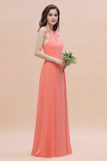 BMbridal Simple Jewel Sleeveless Coral Chiffon Bridesmaid Dress Online_7