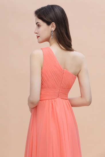BMbridal Chic One-Shoulder Ruffles Chiffon Coral Bridesmaid Dresses On Sale_7