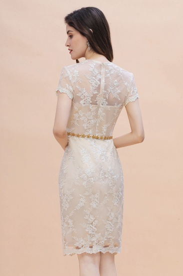 BMbridal Chic Jewel Tulle Lace Beadings Mother of Bride Dress with Short Sleeves Online_3