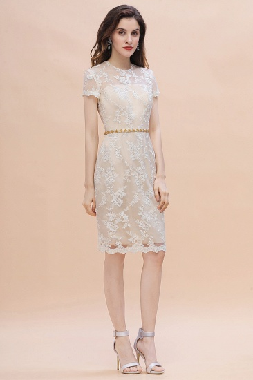 BMbridal Chic Jewel Tulle Lace Beadings Mother of Bride Dress with Short Sleeves Online_6