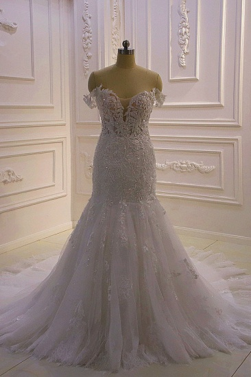 Gorgeous Mermaid Tulle Lace Wedding Dress Off-the-Shoulder Appliques Bridal Gowns with Sequins Online