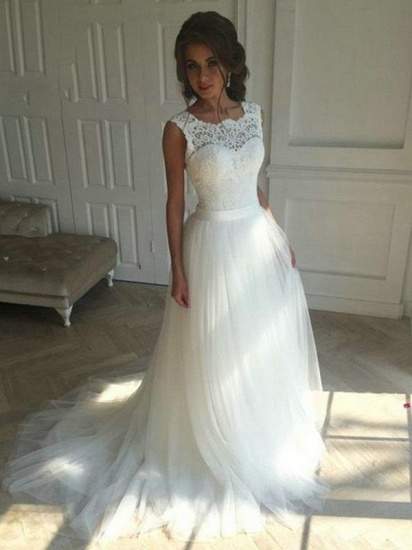 Gorgeous Tulle Lace Wedding Dress A-Line Sleeveless Bridal Gowns Online
