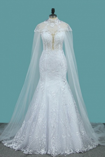 BMbridal stylish Jewel Sleeveless White Tulle Wedding Dress Mermaid Appliques Bridal Gowns with Wraps Online_4