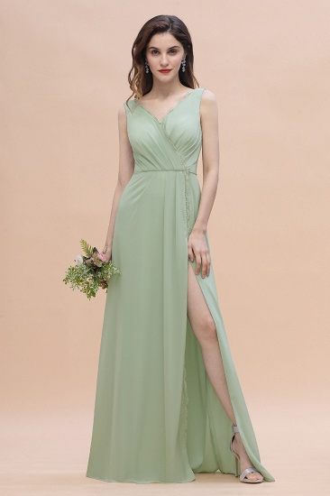 Sexy Chiffon Ruffles Dusty Sage Bridesmaid Dress with Lace Edge On Sale