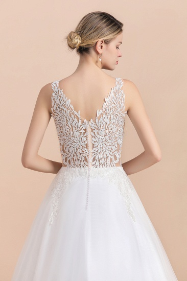 BMbridal Boho V-Neck Lace Wedding Dress Tulle Appliques Sleeveless Bridal Gowns On Sale_11