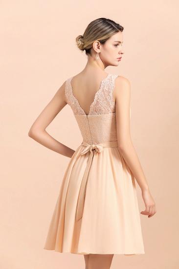 BMbridal Pretty V-Neck Chiffon Lace Short Bridesmaid Dress with Ruffles Online_9