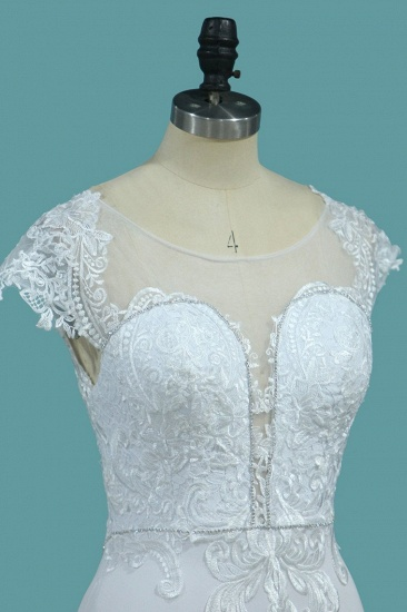 BMbridal Chic Satin Jewel Lace Wedding Dress Cap Sleeves Beadings Mermaid Bridal Gowns On Sale_4
