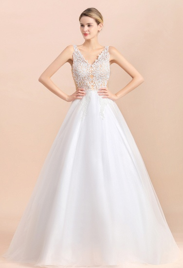BMbridal Boho V-Neck Lace Wedding Dress Tulle Appliques Sleeveless Bridal Gowns On Sale_5