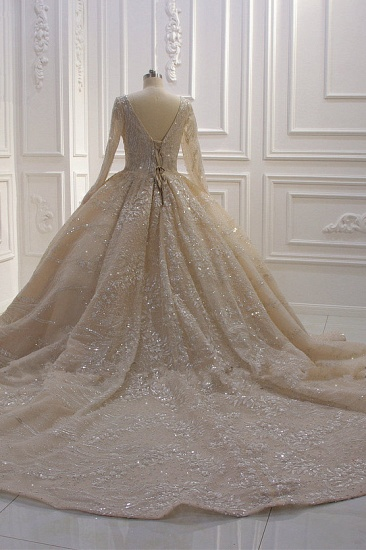 BMbridal Gorgeous Ball Gown V-neck Wedding Dress Long Sleeves Applqiues Sequined Bridal Gowns Online_3