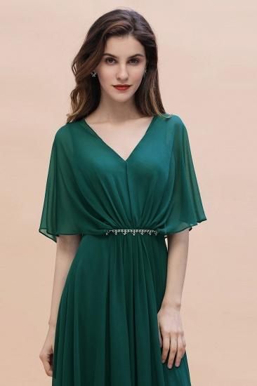 BMbridal Gorgeous V-Neck Chiffon Ruffles Beading Bridesmaid Dress with Half Sleeves_8