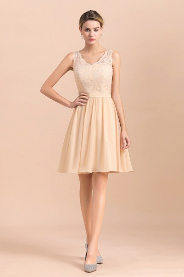 BMbridal Pretty V-Neck Chiffon Lace Short Bridesmaid Dress with Ruffles Online