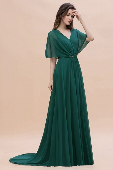 BMbridal Gorgeous V-Neck Chiffon Ruffles Beading Bridesmaid Dress with Half Sleeves_5