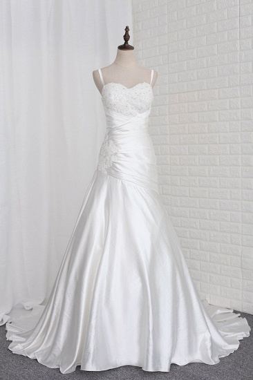 Stylish Straps Sweetheart Wedding Dress White Satin Lace Appliques Beadings Bridal Gowns Online
