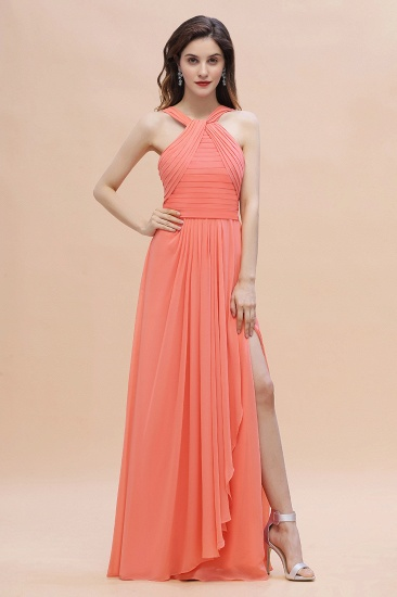 BMbridal Gorgeous A-Line Sleeveless Coral Chiffon Bridesmaid Dress with Ruffles On Sale_5