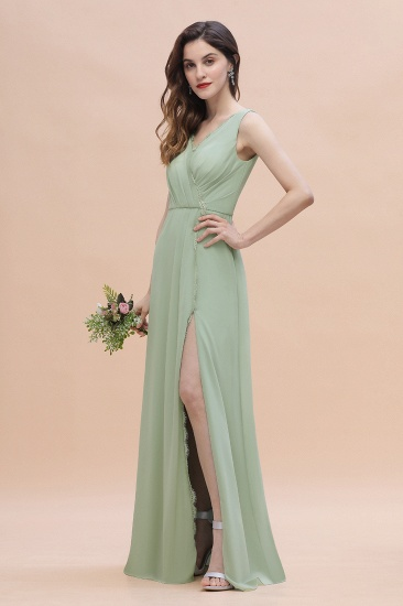 BMbridal Sexy Chiffon Ruffles Dusty Sage Bridesmaid Dress with Lace Edge On Sale_6