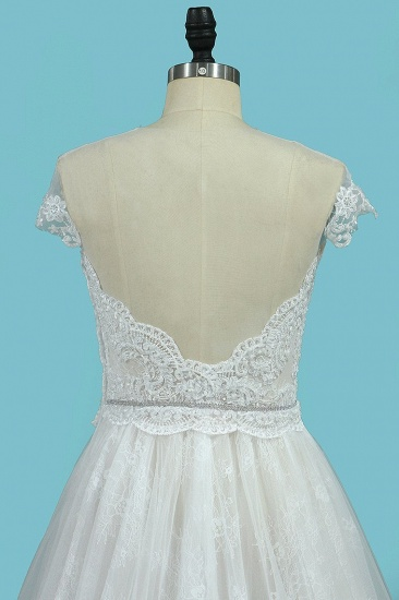 BMbridal Chic Jewel Sleeveless Tulle Wedding Dress Lace Appliques Ruffles Bridal Gowns On Sale_5