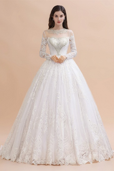 BMbridal Glamorous Jewel Tulle Lace Wedding Dress Long Sleeves Appliques Beadings Bridal Gowns Online