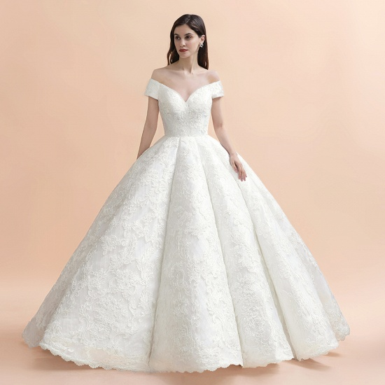 Luxury Ball Gown  Lace Satin Sweetheart Wedding Dress Sleeveless Bridal Gowns with V-Back On Sale_6