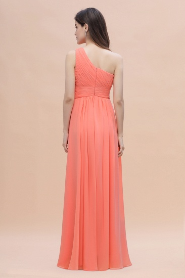 BMbridal Chic One-Shoulder Ruffles Chiffon Coral Bridesmaid Dresses On Sale_3