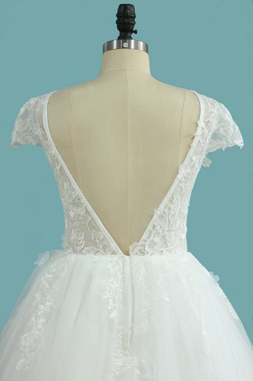 BMbridal Elegant Jewel Tulle Lace Wedding Dress Short Sleeves Appliques Ruffles Bridal Gowns Online_5