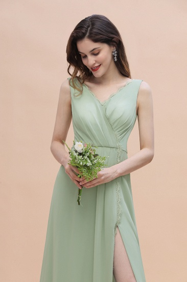 BMbridal Sexy Chiffon Ruffles Dusty Sage Bridesmaid Dress with Lace Edge On Sale_8