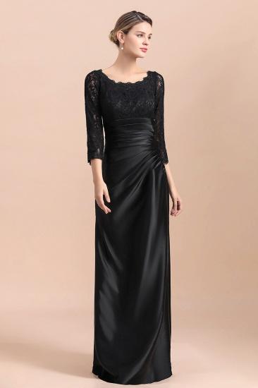 BMbridal Elegant Jewel 3/4 Sleeves Black Satin Lace Ruffles Mother of Bride Dress On Sale_7
