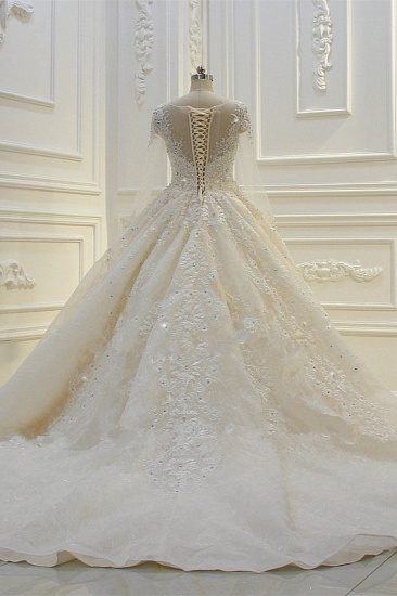 BMbridal Luxury Ball Gown Jewel Tulle Wedding  Dress Long Sleeves Lace Applqiues Beadings Bridal Gowns On Sale_6