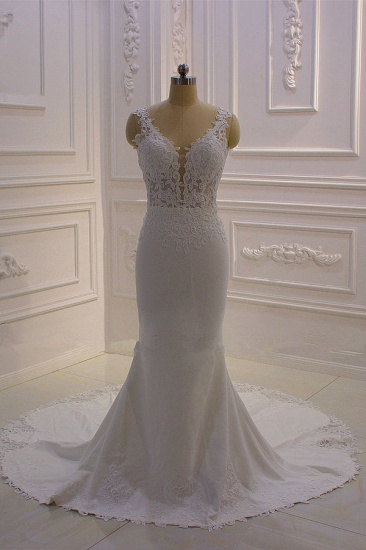 BMbridal Simple Mermaid Tulle Wedding Dress Straps Sleeveless V-Neck Bridal Gowns On Sale
