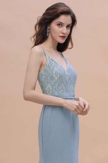 BMbridal Elegant Mermaid Chiffon Lace Dusty Blue Bridesmaid Dress with Spaghetti Straps On Sale_9