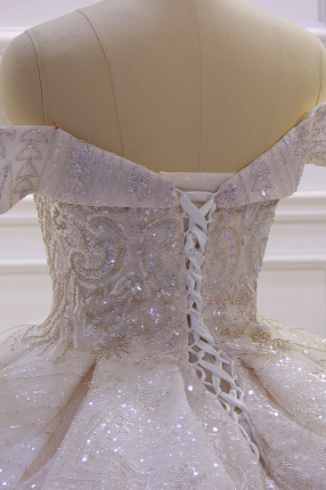 BMbridal Luxury Ball Gown Off-the-Shoulder Wedding Dress Tulle Sequined Beadings Sleeveless Bridal Gowns Online_6