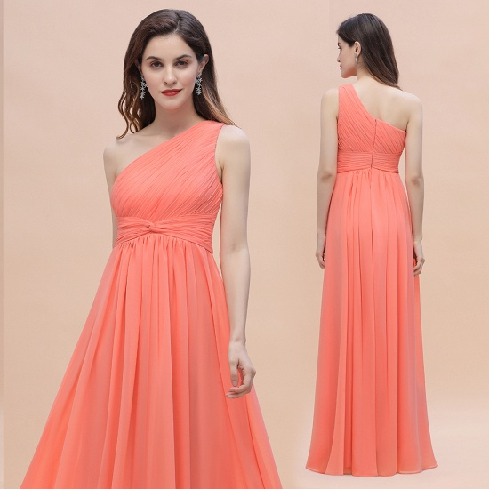 BMbridal Chic One-Shoulder Ruffles Chiffon Coral Bridesmaid Dresses On Sale_6