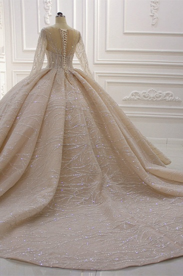 BMbridal Glamorous Ball Gown Tulle Jewel Wedding Dress Long Sleeves Ruffles Beadings Sequined Bridal Gowns Online_5